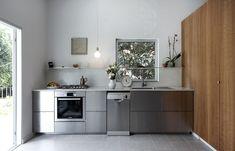 Stainless Steel Kitchen Design, Stainless Steel Cabinets, Metal Kitchen Cabinets, Ikea Kitchen, Kitchen Ideas, Kitchen Photos, Living Room Bookcase, Steel Shelving, Open Concept Kitchen