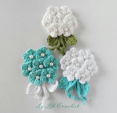 Crochet flower applique: bouquet (for bags, dress, shawl, scarf, headpiece, etc. by LaLehCrochet on Etsy