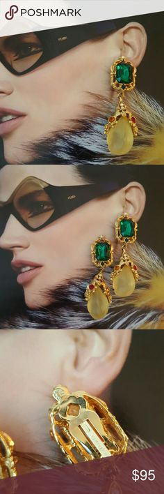 """🎀SOLD/HOLD🎀1980's Vintage Signed Blanca Earrings Very good to excellant vintage condition. The photography doesn't capture the beautiful goldtone construction, faux pearls, large emerald green lucite stone, red, purple, blue, citrine rhinestones and Aligator figurals flanking the large lucite cabochons. Earrings are a little over 3"""" long.  Note: one large lucite cabochon is off centered which maybe due to glue breakdown, but should only be adjusted by a jeweler (otherwise no issues to this…"""