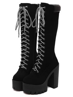SheIn offers Black Chunky Heel Hidden Platform Boots & more to fit your fashionable needs. Gothic Outfits, Edgy Outfits, Teen Fashion Outfits, Mode Outfits, Grunge Outfits, Cute Casual Outfits, Fashion Boots, Punk Rock Outfits, Gothic Dress