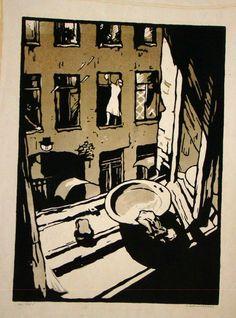 """Серия цветных линогравюр была создана в 1960-1961 гг., состоит из 11 листов. Во время блокады художница жила в Ленинграде. """"Дежурная"""" """"С Невы"""" """"У буржуйки"""" """"Май 1945 года"""", цветная линогравюра, 41 х 30,5 см В минувшую пятницу открылась выставка всех 11…"""