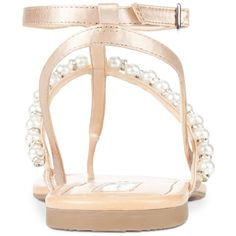 INC International Concepts Madigane Embellished Flat Sandals, Only at... ($55) ❤ liked on Polyvore featuring shoes, sandals, embellished gladiator sandals, dressy flat shoes, embellished sandals, strappy gladiator sandals and strap sandals