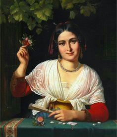 Wilhelm Marstrand A Roman girl in a windowsill during the carniva
