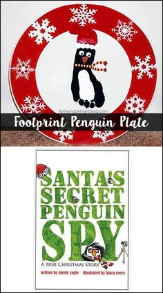 Read Santa's Secret Penguin Spy Book and make a footprint Christmas Plate Keepsake #HandprintHolidays #FunHandprintArtBlog #kidscraft #keepsakecraft #diycraft #platekeepsake #footprintart #footprintcraft #christmascrafts #penguins #diychristmas #ChristmasDecor #keepsake