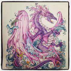Water Dragon #kerbyrosanes #mythomorphia #prismacolor #coloringtherapy