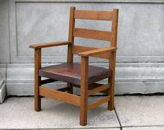 Gustav Stickley Childs Chair Marked Arts And Crafts Mission Oak Leather