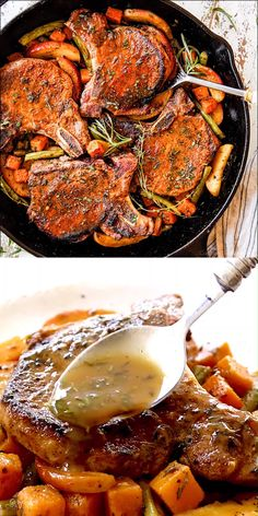 This EASY Pork Chops with Apples recipe is the epitome of Fall all in one skillet! It boasts pan seared pork chops apples green beans and butternut squash all simmered in a sweet and tangy apple cider pan sauce thats lick the plate DELISH! Pork Chop Recipes, Meat Recipes, Chicken Recipes, Cooking Recipes, Healthy Recipes, Sausage Recipes, Deer Steak Recipes, Cooking Box, Cooking Ingredients