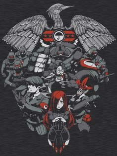 Inferno Brigade Black Egrets, assemble! The Canopy Kingdom's primer fighting force are featured in this Skullgirls design, from the princess, Parasoul herself, her subordinates Adam, Roxie, Molly and