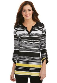 Cato Fashions Striped Aztec Patterned Blouse- Plus #CatoFashions Love this. Very Pretty!
