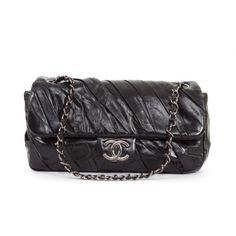 Chanel Black Lambskin Leather 2.55 Twisted Flap Bag