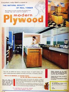 1960's plywood kitchen with white top