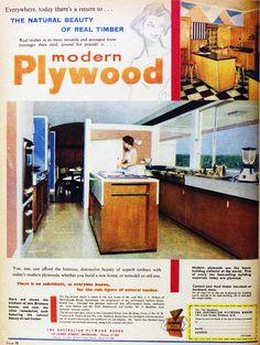 1960 modern plywood kitchen