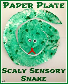 Paper Plate Scaly Sensory Snake - using Pastina and fingerpaint - House of Burke