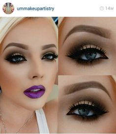 I love the eye makeup... Maybe not so much the purple lipstick but still very pretty!