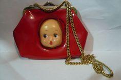 1930s Very RARE Red Vinyl Kewpie Doll Kid Girl Child Purse