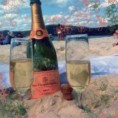 sharing a bottle of Veuve on Whitehaven Beach, Whitsunday Island (Queensland, Australia)