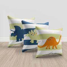 Dinosaur throw pillows, green, orange and blue throw pillows, dinosaur bedroom… Boys Dinosaur Bedroom, Dinosaur Kids Room, Dinosaur Nursery, Kids Bedroom, Bedroom Ideas, Toddler Room Decor, Toddler Rooms, Green Throw Pillows, Throw Pillow Sets