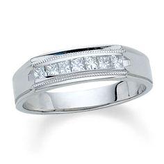 Men's 1 CT. T.W. Princess Cut Channel-Set Diamond Wedding Band in 14K White Gold