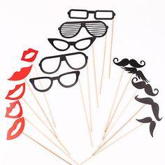 15 x Photo foto Booth Props Schnurrbart Lippen Brille Party DIY Zubehör Set