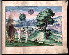 Anteros burns Eros's bow and arrows -- from the Jenisch album, f.81r