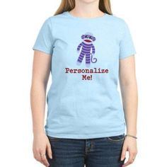 Cafepress Personalized Purple Sock Monkey Women's Light T-Shirt, Size: Small, Blue
