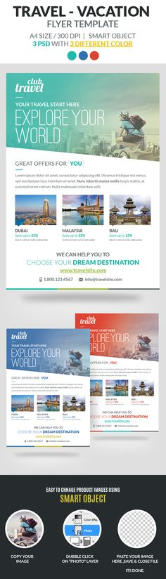 "Travel – Vacation Flyer Template is fully layered and very easy to edit template for any kind of travel business. Included 3 different color options.  FEATURES:  3 Flyer Color Options 8.27"" x 11.69"" (210mm x 297mm) + 3mm bleeds Smart Object for Replace image Free Fonts Used Clean & Modern Design 300 DPI CMYK"