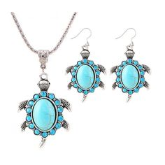 Turquoise Turtle Necklace & Dangle Drop Earrings Jewelry Set - Free Shipping!