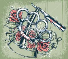 cut throat razor tattoo - Google Search