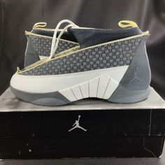 new style 38c95 301d7 (eBay Sponsored) Rare SAMPLE OG Nike Air Jordan 15 Grey White Size 9.5/