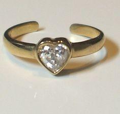 9ct gold stone set heart design toe ring JTR17 Jewellery-Company
