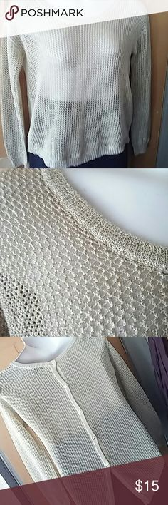 **Champagne **crochet sweater size M This sweater outs beautiful and inn excellent condition....55% cotton 45% lurex pearl  Sweaters Crew & Scoop Necks