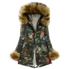 Stylish Hooded Camo Faux Fur Drawstring Design Long Sleeve Coat For WomenVintage Coats | RoseGal.com