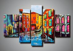 Wholesale 100% hand painted abstract 5 panel canvas art living room wall decor painting modern sets com5244, Free shipping, $53.26/Set | DHgate