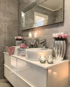 I think if there is so much noise outside the bathroom, it seems very quiet and peaceful . - Xadia Cashif - Badezimmer - Home Sweet Home Dream Bathrooms, Beautiful Bathrooms, Small Bathroom, Pink Bathroom Decor, Silver Bathroom, Elegant Bathroom Decor, Bathroom Candles, Bathroom Interior, Bathroom Mirrors