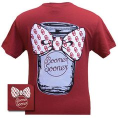 New Oklahoma Boomer Sooners Mason Jar Big Bow Girlie Bright T Shirt | SimplyCuteTees
