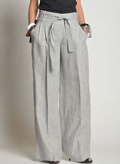 Linen Women's Pants Elastic Waist Summer Loose Fit Beach Wide Leg Linen Pants Full Length Bell Bottom Linen Pants Women, Wide Leg Linen Pants, Pants For Women, Fashion Pants, Fashion Dresses, Fashion Tips, Baggy Pants, Trousers, Loose Pants