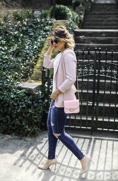 Blush blazer, ripped denim, white tee, blush handbag, t shirt with blazer, balayage
