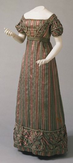 Woman's Dress, Belt, and Sleeves Made in Philadelphia, Pennsylvania, United States, North and Central America, c. 1823 Striped silk plain weave Philadelphia Museum of Art.