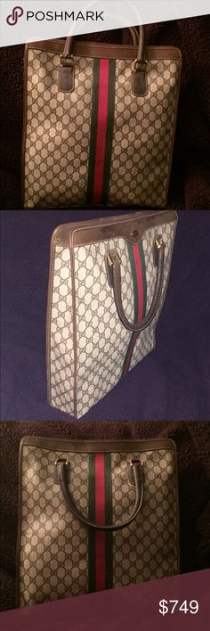 """Orig GUCCI TRAVEL BAG Documents,etc, or travel bag The ORIGINAL OLD STYLE GUCCI pattern Travel Bag. Has never been used. No tags as it was my mothers from 50 yrs ago. She didn't want to ruin it. So GUCCI Lovers her you go. It's 17"""" x 15"""" x 3"""". The bag can hold a lot of papers if you use for work and computer. Or you can use as a travel bag if you travel for work. Gucci Bags Shoulder Bags"""