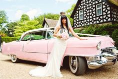Pink cadillac wedding car...