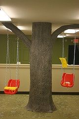 Kids Ministry~We took a pillar in a church's nursery and turned it into a tree with working swings. How cool is that!