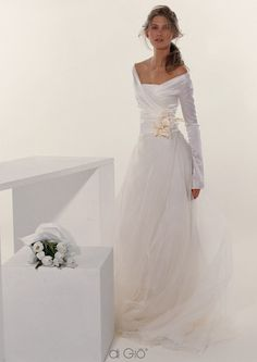 La Spose di Gio wrap tulle- pinned for detail at waist and foof of skirt