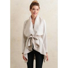 Ruche Monet Draped Cardigan (125 CAD) ❤ liked on Polyvore featuring tops, cardigans, cream, cream cardigan, shirred top, rouched top, open front cardigan and gathered top