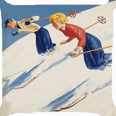 "Retro Vintage girl boy snow ice ski winter sport resort cute cushion cover 18"" in Möbel & Wohnen, Dekoration, Dekokissen 