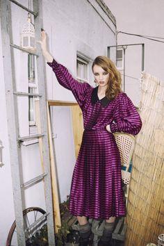 1980's Albert Nippon Magenta and Black Striped Silk Pleated Dress