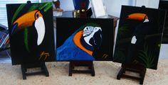 Original Parrot Trio Paintings Blue and Gold Macaw and Toucans. $50.00, via Etsy.