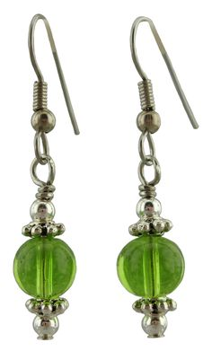 """They are 1 ½"""" long, the center bead is a 8mm has a round Spring Green glass bead with pewter daisy beads and 3mm silver plate round beads above and below. The Ear Wires are Surgical Stainless Steal Fr"""