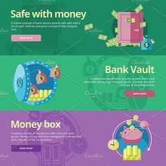 Flat Finance and Money Banners Graphics Vector finance and money icons set. Illustration for case of cash, safe deposit, bank vault. EPS10 a by painterr