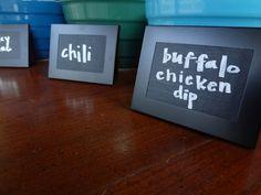 Mini picture frames + chalkboard paint = reusable food labels for parties....