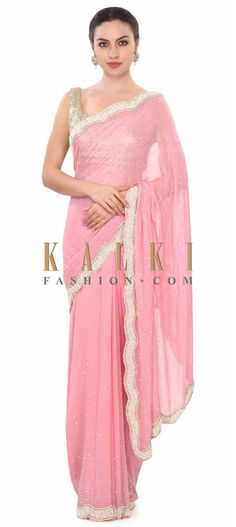 Buy this Pink saree with stone and pearl border only on Kalki
